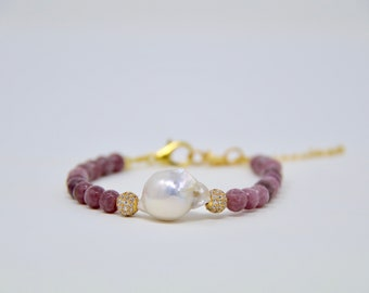 Faceted Tourmaline Pearl Beaded Bracelet
