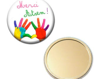 Mirror Pocket Badge 56 mm - thank you for pre-school kindergarten painting child gift