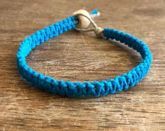 Hemp Bracelet or Anklet - Turquoise Blue - Custom Sizing