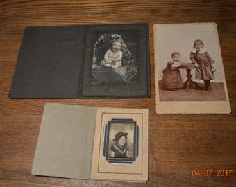 3 old Photos, Vintage Baby and Children Portrait Sepia Photograph in Frame Folders, Antique Cabinet Card, Little Girls 1910 to 1930's