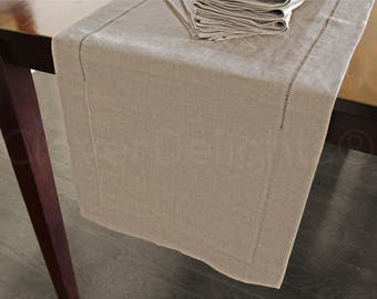 """16"""" x 108"""" - Natural Linen Hemstitch Table Runner - 100% Pure Linen - Ladder Hemstitched Cloth Table Runner - Embroidery Monogram Supplies"""