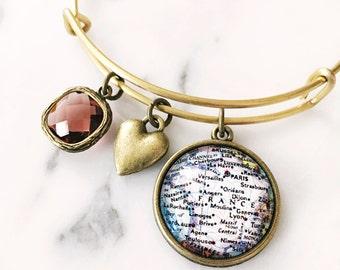 France Map Charm Bracelet - Map Jewelry - Paris - Nice - Normandy - Burgundy - Travel - Wanderlust - Vacation
