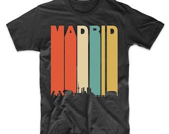 Vintage Retro 1970's Style Madrid Spain Cityscape Downtown Skyline T-Shirt