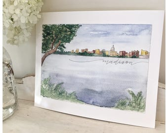 Madison Wisconsin Skyline Watercolor Print - Watercolor Painting - Hand Lettering Art Print - Capital building