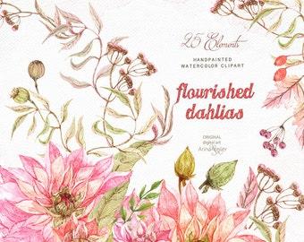 Flourished Dahlias Watercolor Clipart - Flowers, Wedding Invites, DIY Invites, Clip Art, Prints, Pink Flowers Clipart, Shabby Chic Flower