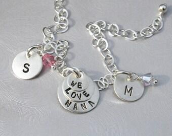 Nana/Grandma/Mom - We Love Nana (Grandma/Mom) Sterling Silver Handmade Charm Bracelet