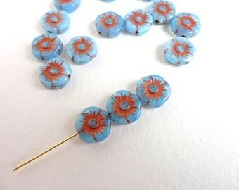 15 x 11mm Czech Glass Beads, Blue and Bronze Flower Czech Glass Beads, Blue Flower Beads, Blue Glass Flower Beads FLW0043