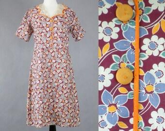 1930s Floral Feedsack Day Dress, Vintage 30s Dress, Floral Print Depression Era Dress, M/L
