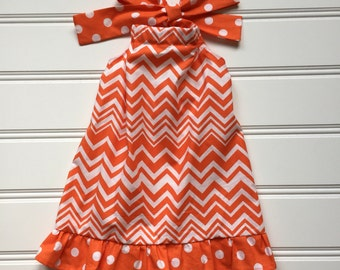 Halter Dress for Toddler, Toddler Dress, Girl Summer Dress, Girl Sundress, Little Girl Dress, Orange Dress, Toddler Girl Clothes, 2T