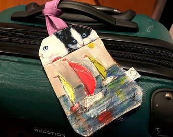 "Bag Tag - Hand painted luggage tag | ""Sunny Sailing"""