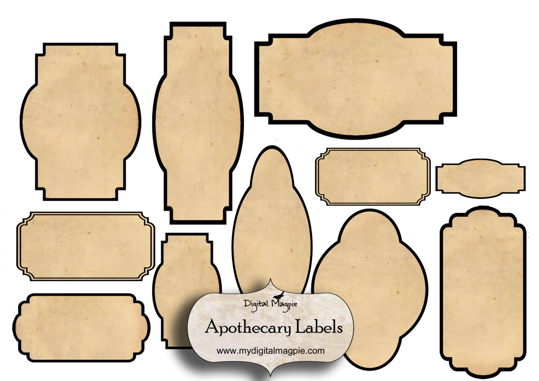 Digital Collage Sheet leeren Apotheker Etiketten Antik shabby
