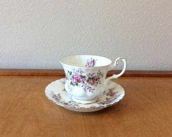 Beautiful Royal Albert Bone China Teacup  and Saucer - Lavender Rose Pattern