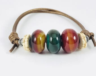 Agate, Leather, & Silver Bracelet
