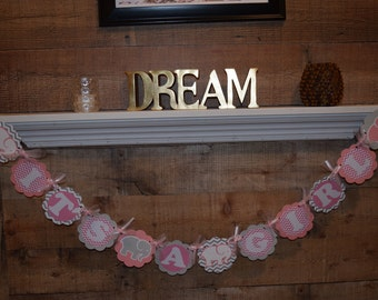 Baby Elephant Banner, Girl Baby Shower, Boy Baby Shower, Pink Elephant, Blue Elephant, Personalized Name Banner, Party Decorations, Custom