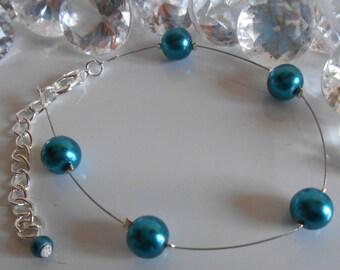 Simplicity wedding bracelet beads blue Peacock