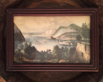 Vintage Framed Scenic Image Landscape Print with Steamboat or Paddleboat and Sailboats in Harbor