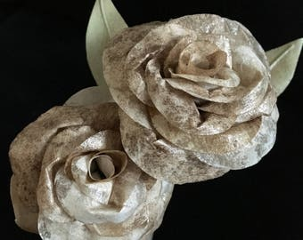 Handmade Recycled Coffee Filter Rose Flowers