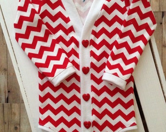 SALE Valentine's Day Preppy Baby Cardigan Onesie: Red Chevron