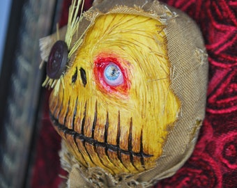 Sculpted art doll / creepy Scarecrow / Halloween decoration / wall art