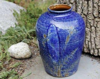 Ceramic Flower Vase - Hand Made Pottery - Flower Vase - Rustic - Cobalt Blue - Wheel Thrown Pottery - Home Decor