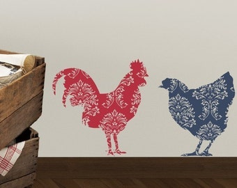 Country Rooster and Chicken Vinyl Wall Decal, Kitchen Wall Decal, Farmhouse Wall Decals, Chicken Wall Decals