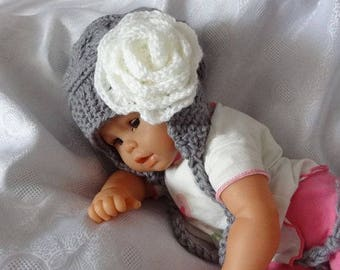 Earflap Kids Hat, Baby Girl Hat Newborn Hat Photo Prop, Baby Hat , Girl winter Hat, Earflap Baby Hat, Knit Baby Hat, Newborn Hat