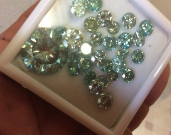 Greenish blue Moissanites