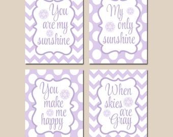 You Are My SUNSHINE Wall Art, CANVAS or Prints, Lilac Aqua Chevron Polka Dots, Baby Girl NURSERY Decor, Nursery Rhyme Song Quote Set of 4