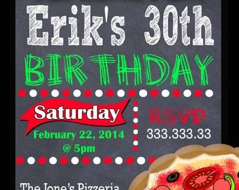 PIZZA PARTY INVITATION - Pizza Birthday Party Invitation - Pizza Party Invite - Pizza Birthday Invite - Italian Print at Home Digital File
