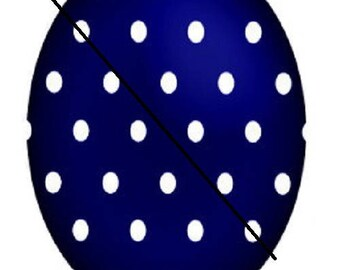 18x25mm, beautiful blue cabochon with polka dots