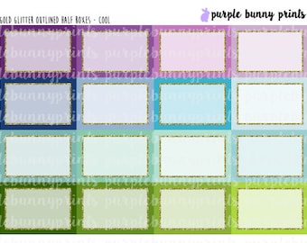 Gold Glitter Outlined Half Boxes // Planner Stickers!