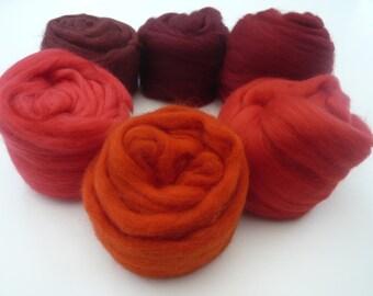 Heidifeathers Merino Wool Tops 'Ravishing Reds'