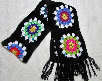 Crocheted Granny Square Retro Boho Style Women's Starburst Scarf CRAZY BLACK