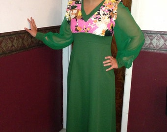 1970's Handmade green vintage gown