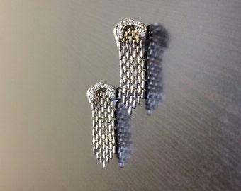 18K White Gold Diamond Drop Earrings - 18K Gold Dangling Diamond Earrings - 18K Diamond Earrings - Handmade Earrings - Dangling Earrings