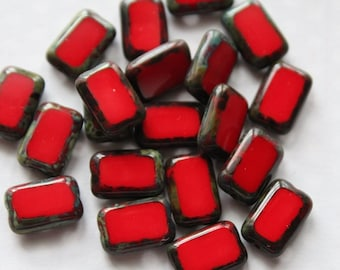 12 mm Red Picasso Rectangle Glass Window Beads