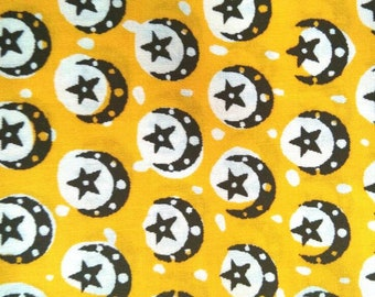 Moon and Stars on Yellow Background African Wax Print Fabric - 100 per cent cotton - 1 Yard