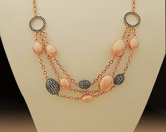 Sterling silver necklace,rose gold plated necklace,beaded necklace,bridal jewelry,