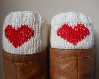Hand Knitted Boot Cuffs Leg Warmers  Cream With Red Heart