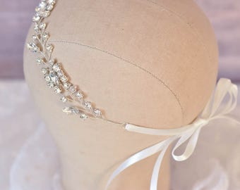Wedding Hair Vine, Bridal Hair Vine, Silver Vine Headpiece, Rhinestone Headpiece, Twig Vine Bridal Wreath, Wedding Hair Accessory, Bridal