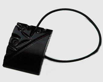 Black Plastic Hair Accessory, Domed Rectangle Shape, Ponytail Holder made from Vintage Button, Carved Flower Design, Possibly Bakelite
