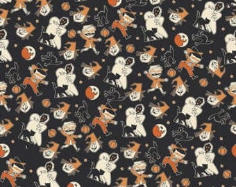 Trick or Treat from Penny Rose Fabrics - Full or Half Yard Treat Toss Black - Halloween Characters - Ghost, Witch, Black Cats