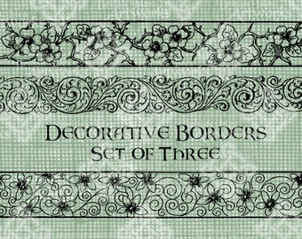 Digital Download, Decorative Borders Set of 3, Flowers and Flourishes, Antique Illustration, Iron on Transfer, DigiStamp, Transparent png