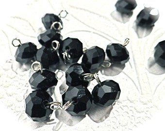 15 Black Austrian Crystal Beads Jewelry Supplies RB-143