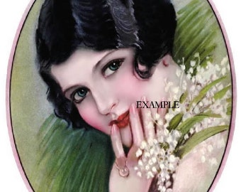 FABRIC BLOCK OF A STUNNING LADY, TWO IDENTICAL 5X7 IMAGES, COTTON