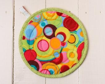 Quilted Potholder - Bright Happy Circles - Reversible with Multicolor Dandelion Puffs