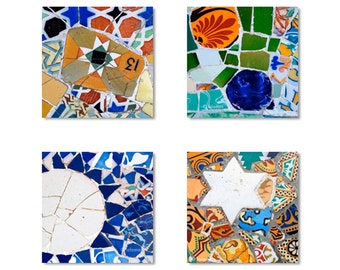 Gallery wall decor, spanish tiles, Barcelona art, Gaudi, colorful wall art, gift set, gift for her, Art Nouveau