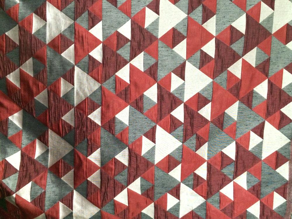 Red N Grey Origami Geometric Fabric by the Yard Curtain Fabric