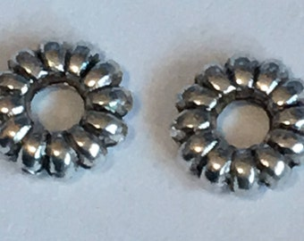 Antique silver Donut Spacer Beads, size 6.5mm DIY Jewelry Making Supplies  Findings