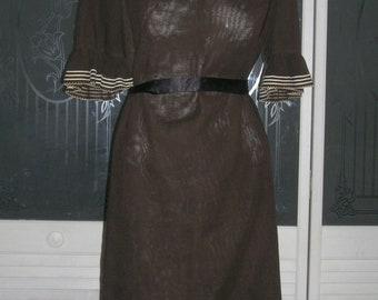 Stylish Vintage 60s MANFORD Mod Ruffled Cotton Secretary Dress